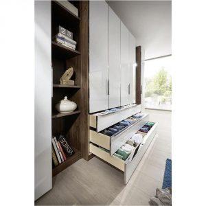 nolte® Möbel Drehtürenschrank – HORIZONT 10500 – mit breiten Schubkästen – Weißglas